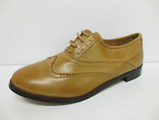 SALE LADIES SPOT ON LACE UP BROGUE SHOE AVAILABLE IN TAN F9487