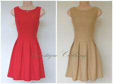 Brand New Made for Topshop Pleated Skater Flare Dress Exposed Zip Camel Beige