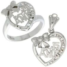 "925 Sterling Silver ""15 Anos"" Bow Heart CZ Sweet 15 Ring & Charm Pendant Set"