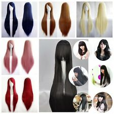 "80cm/32"" Full Long Straight Wigs Fancy Dress Cosplay Costume Ladies Wig Party S"