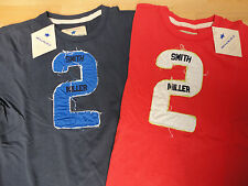 "SMITH & MILLER FITTED T-SHIRT BLAU/ROT ""2"" DISTRESSED LOOK TOP + NEU!!!"