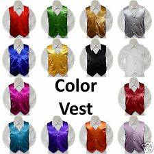 14 color Satin Vest Only Husky Teen Men for Boy Formal Party Tuxedo Suit 22-28