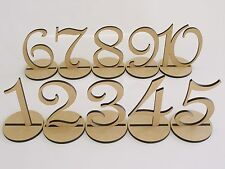 One MDF Wooden Shape 15cm Table Number with Base Wedding Birthday Party French