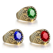 Guys Boys Stainless Steel Gold Simulate Stone Class Graduate Ring Blue Green Red