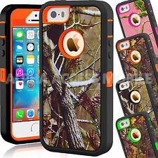 For Apple iPhone 5C 5 5S Camo Hybrid Shockproof Armor Protective Hard Case Cover