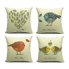 Bird Printed Pillow Case Cotton linen Cushion Cover Decorative Square Housewares