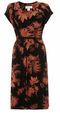 Monsoon current black/terracotta print stretch jersey dress-8 10 12 14 16