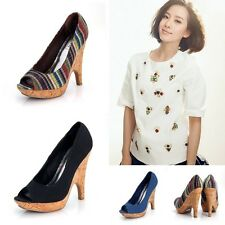 Sex Women Open Toe High Heel Platform Wood Wedges Night Club Shoes Fabrics Pumps