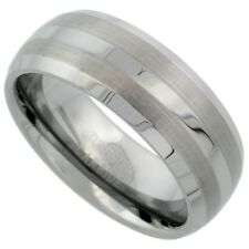 Tungsten Carbide 8 mm Dome Wedding Band Ring with Double Etched Stripes