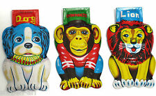 Vintage Tin Dog,Lion,Chimpanzee Noise Maker Toy Metal Clickers Noisemaker Japan