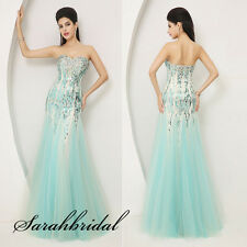 Free Ship Blue Rectangular Sequins Crystals Tulle Evening Gowns Prom Dresses New