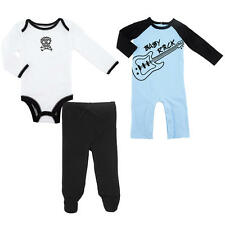 amy coe Boys' 3 Piece Blue/Black Skull Rock Layette Set with Raglan Coveralls, L