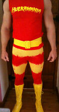 HULK HOGAN WRESTLING TIGHTS PANTS FANCY DRESS VEST SHIRT BELT COMBO! COSTUME