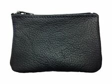 New Mens or Womens Leather Zippered Coin Pouch / Purse / Change Holder USA Made