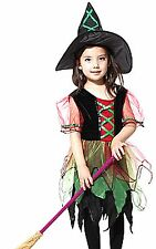 Girls Kids Children Halloween witches Fairy Tutu Costume Dress Hat set Prop