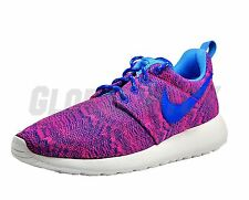 Nike 677784-600 GS Youth Roshe Run Print Hyper Pink Hyper Cobalt University Blue