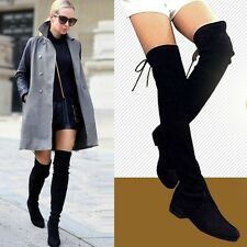 size 6-9 Womens Cow Leather Over the Knee Boots Flat Oxfords Slim Leg Booties