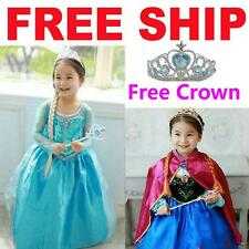 Kids Girls Dresses Disney Elsa Frozen dress costume Princess party dresses+Crown