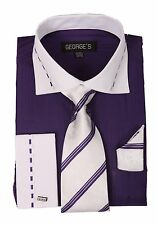 New Men's Fashion Dress Shirt French Cuff Purple with White Collar Tie&Hanky 621