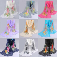 Women's Long Wrap Soft Shawl Scarf Summer Thin Floral Wrap Lady Chiffon Scarves