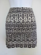 NEW LOOK BLACK CREAM AZTEC PRINT BODYCON STRETCH MINI SKIRT SIZE 8 10 12 14