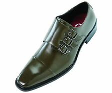 Sio Mens Triple Monk Strap Dress Shoe with Cap-toe in Smooth Olive: Westby-195