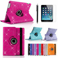 360°Swivel Rotate Bling SPARKLY Leather Case Cover for Apple ipad 4 3 2+film+pen