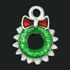 Wholesale Market Charm Pendants Enamel Christmas Wreath Silver Plated 18x13mm