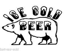 Ice Cold Beer Polar Bear Vinyl Decal - Man Cave Beer Fridge - Select Color