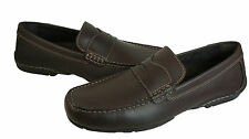 Rockport Mens Chaden Brown Slip-On Moc-Toe Driving Drivers Penny Loafers Shoes