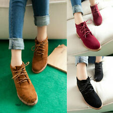 Women Ankle Martin Boots Suede Oxford Flat Lace Up Vintage Casual Shoes Platform