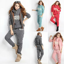 Newest Ladies XL M Size Hoodies Coat+Vest+Pants 3pcs Suit Tracksuit Womens Red