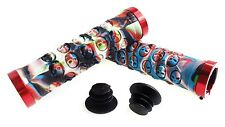 "COPPIA MANOPOLE ""SKULL WORSHIP"" CON LOCK-ON mtb grips fixed bike scatto holy"