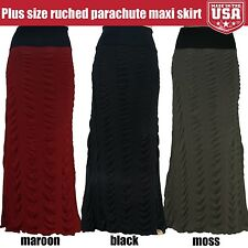New Women Plus Size Stretchy Comfy Maxi Skirt Ruched Parachute Detail 1X 2X 3X