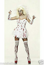 LADIES ZOMBIE BLOODY BRIDE HALLOWEEN FANCY DRESS COSTUME - FREE BLOODY VEIL