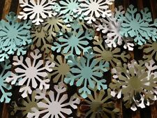 50 GIANT snowflakes confetti table decorations card White frozen blue silver XL