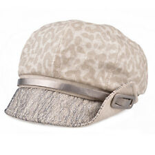 Ladies Vintage Style Bakers Boy Hat animal print pattern Cap Cream Grey 001 SALE
