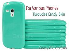 TURQUOISE GEL TPU FLEXI CANDY SKIN SLEEVE PHONE CASE FOR VARIOUS PHONE MODEL