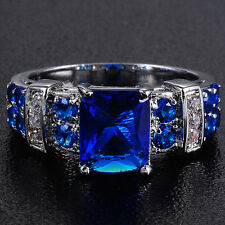 Size 8-12 Brand Jewelry 10KT White Gold Filled Blue Tanzanite Ring Gift For Love