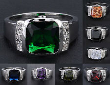 Size 8-12 Brand Nice Jewelry Mens 10KT White Gold Filled Various Gem Ring Gift