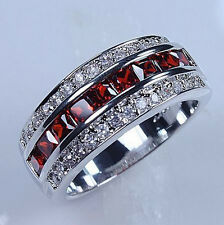 Size 7-13 Classic Men's Red Garnet 10KT White Gold Filled Gem Ring Band Gift