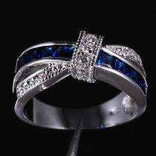 Size 6-10 Deluxe Party Ladys Cross Blue&White Sapphire 10KT Gold Filled Gem Ring