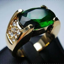 Size 9,10,11 Deluxe Jewelery Men Green Emerald 10KT Yellow Gold Filled Band Ring