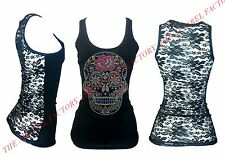 New Junior's Rhinestone Day Of The Dead Sugar Skull Lace Back Black Tank Top Tee