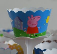 """12 Kids Bday Party """"PEPPA PIG"""" Cupcake Wrappers - WORLDWIDE FREE SHIPPING"""