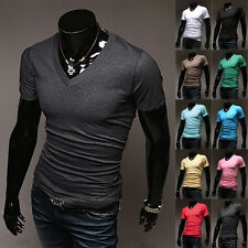 New Mens Slim Fit V-neck Casual T-shirt Short Sleeve Muscle Tee Size M L XL 2XL