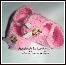 New Born Baby Girl Pink Posh Classy Booties Hand Made Crochet 0-3 Months