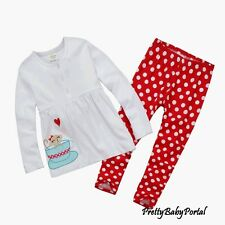 NEW GIRLS Baby Toddler Kid's Clothes Long sleeve WHITE T-shirt+Pants Set