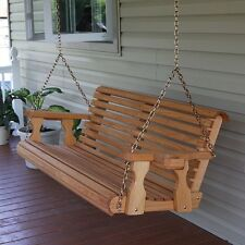 CAF Amish Heavy Duty 700 lb Roll Back 4ft. Treated Porch Swing With Cupholders
