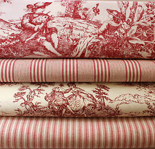 VINTAGE RASPBERRY TOLIE DE JOUY  TICKING STRIPE FRENCH FABRIC NEW